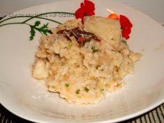 Risotto de bacalhau com pimentos confitados