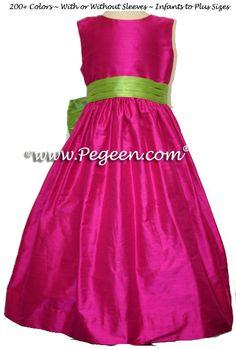 Boing (Raspberry) and Apple Green Silk Custom Flower Girl Dresses by Pegeen.com