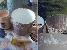 Pentart dekor: Tejfölös vödörből szobanövény kaspó Peridot, Tableware, Vintage, Dinnerware, Tablewares, Peridots, Vintage Comics, Dishes, Place Settings