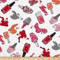 Kanvas Think Pink Nail Salon White from @fabricdotcom  Designed by Greta Lynn for Kanvas Studios in association with Benartex, this cotton print is perfect for quilting, apparel and home decor accents.  Colors include black, orange,white, grey, pink and red.
