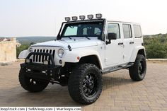"""2014 Jeep Wrangler Unlimited  3 Inch Lift Push Bar LED Front Lights Bluetooth ORF LED Light Bar Rino lined Fenders, Grill, Top, Air Vents, Passenger Bar, and Door Panels RPB 20"""" Wheels w/ 35x12x20 tires LED Reverse Lights"""