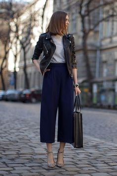 Neutral Basic: Classic jacket, leather jacket // How to style a leather jacket, classic white shirt, chic looks, cute outfit ideas for work, fashion over 40, wide leg pants, navy peony