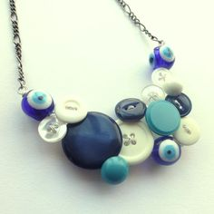 Evil Eye Vintage Button Statement Necklace in blue by buttonsoupjewelry, $30.00