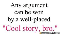 Any Argument Can Be Won By A Well Placed Cool Story Bro