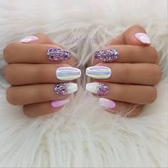 100 Spring Nail Art Designs for Women 2020 Gorgeous Nails, Love Nails, Fun Nails, Sparkle Nails, Perfect Nails, Gel Nail Art, Acrylic Nails, Coffin Nails, Spring Nail Art