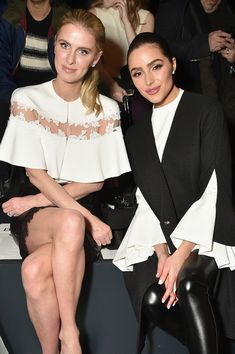 Nicky Hilton Rothschild and Olivia Culpo attend the Lanyu collection Front Row during New York Fashion Week: The Shows.