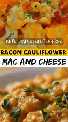 Cauliflower Bacon Recipe, Califlower Mac And Cheese, Paleo Mac And Cheese, Cauliflower Ideas, Mac Cheese, Cheddar Cheese, Bacon Recipes, Paleo Recipes, Cooking Recipes