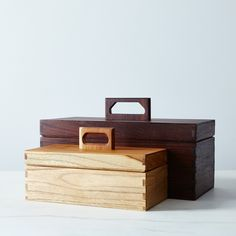 tool boxes in walnut and teak