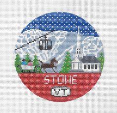 Stowe Vermont Needlepoint Christmas Ornament by DoolittleStitchery on Etsy