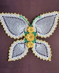 Maggie's Crochet · Butterflies and Roses Pineapple Doilies Download