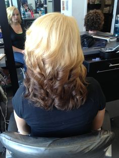 Blonde to brown reverse ombré