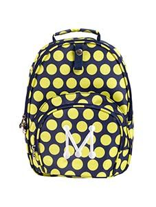 """Junior Backpack - Keylime Dot 11""""W x 13""""H x 5""""D Small backpack - large style! Webbed, adjustable straps and padded top handle.  Webbing front loop with snap to attach keyring, hand sanitizer, etc. Front zip  pocket. Large interior area. Holds a regular sized file folder."""