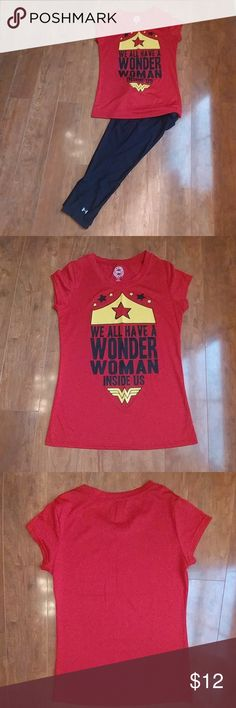 """Printed Tee """"We All Have A Wonder Woman Inside Us"""" DC Comics Graphic Printed Tee Size M (7-9) 100% Polyester Great for working out in or used as part of Halloween costume paired with tulle skirt! Only worn once..no snags, tears, stains or imperfections! DC COMICS ORIGINAL Tops Tees - Short Sleeve"""