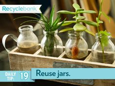 Reuse your coffee cans & glass jars to hold your home supplies. You can even use them for arts & crafts.