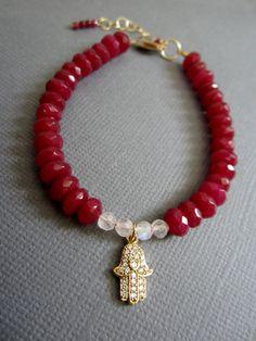 Hamsa Bracelet Red Jade bracelet Hamsa Jewelry evil by Lotus411, $58.00