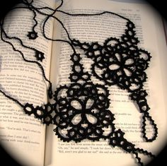 Tatting, one of my new interests. Thankfully this image comes with instructions so I can learn how to make them myself. They would be a perfect gift for someone I know. :-)