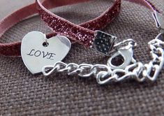 """Thin Pink Glitter Velvet Inch Choker with Silver Heart """"Love"""" Charm // Adjustable & Cute // Simply Charming Chokers Love Charms, All About Fashion, Pink Glitter, Chokers, Velvet, Heart, Unique Jewelry, Handmade Gifts, Gift Guide"""