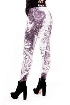 Alchemy Black Bella Rose Gothic Leggings