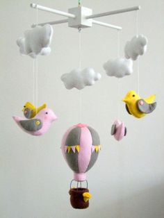 DIY felt birds animal baby mobiles with air balloon and clouds - kids crafts, homemade animal mobile