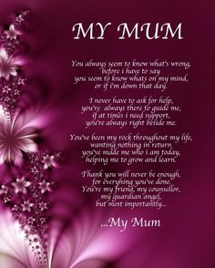 Personalised My Mum Poem Birthday Mothers Day Christmas Gift Present Mother Quotes Poems
