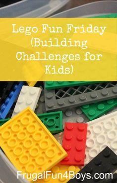 A new Lego Fun Friday building challenge, plus this post has links to 8 past building challenge ideas. Lego Activities, Rainy Day Activities, Lego Math, Lego Duplo, Lego Projects, Projects For Kids, Crafts For Kids, Lego Challenge, Challenge Ideas