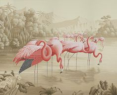 Flamingos' design in Part Custom colours on Sepia scenic paper.  A custom 'Flamingos' design which was painted for HD Expo in Las Vegas. The inspiration came from Audubon's birds of America, in particular 'American Flamingo 1838'
