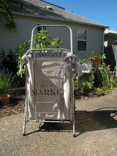 Vintage petite French Market folding shopping cart by bisforbella, $88.00 Rolling Shopping Cart, Shopping Carts, Round Top, Round Corner, French Twists, Craft Day, Grain Sack, Storage Ideas, Repurposed