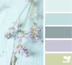 Possible bedroom color palette--think wall color is between lightest and the second lightest blue