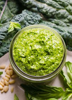 Vegan Kale Pesto Sauce is delicious sauce with extra pine nuts, fresh basil and heart healthy olive oil. No Parmesan cheese.