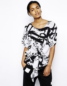 BACK by Ann-Sofie Back T-Shirt in Chinese Print with Knot Front