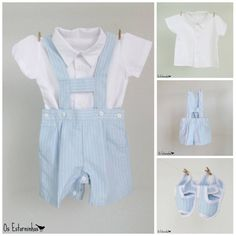 Baby boy Outfit  Striped Blue cotton short by OsEstorninhos, €30.00