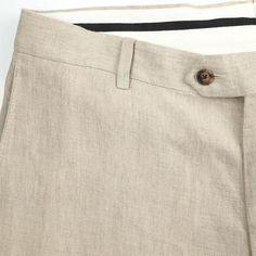 02e229d39 John W Nordstrom Beige Linen Flat Front Non Cuffed Casual Dress Pants 34 x  30 #