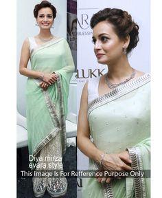 HKTextile - Diya Mirza Green Georgette Bollywood Saree