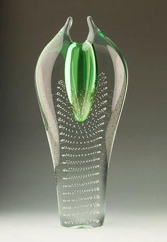 Jan Juda for Skrdlovice Czech Art Glass Vase by TableauxArts