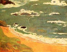 La plage au Pouldou. / Beach In Pouldu. / Ecole de Pont-Aven. / By Paul Gauguin.