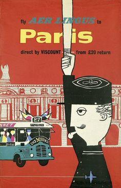 Affiche Aer Lingus 1956 - Paris