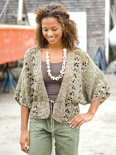 "'Ipanema' crochet cardi pattern, bust sizes up to 56"". In Berroco booklet #305, Berroco Origami."