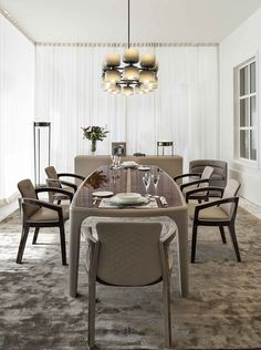 Perfect dining shene in our September Event by Bentley Home with Bradley table, Melanie Royce chairs with Talbot chandelier. #LuxuryLiving