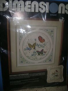 """Dimensions Crewel Embroidery Kit Butterfly Afternoons Karen Avery 14""""X14"""" New #DimensionsCrewel"""