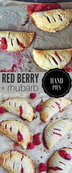 Delicious raspberry, strawberry and rhubarb hand pies. Made with an all-butter pie crust.