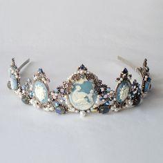 Drusilla Blue tiara - Gothic headpiece, marcasite, blue topaz, labradorite, cameo, pearls, rhinestones. $640.00, via Etsy.