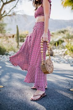 red summer maxi skirt