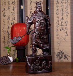 Statue Artisanale en bois de Guan Yu - Artisan d'Asie