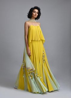 Citron yellow lehenga with net embroidered dupatta and scallop embroidered border. *This piece includes 3 - 4 inches of additional margin in the bodice/blouse to allow alterations up to - 2 dress Indian Attire, Indian Wear, Indian Designer Outfits, Designer Dresses, Indian Dresses, Indian Outfits, Stylish Dresses, Fashion Dresses, Fashion Top