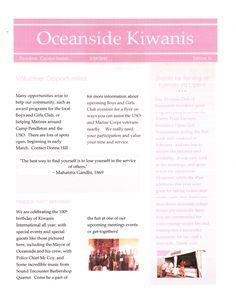 Oceanside Kiwanis Club's February Newsletter p1