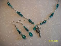 Turquoise Glass Beaded Seahorse Necklace & by DysfunctionalAries, $25.00 ~~Today, 3/7/14 through Saturday, 3/15/14 - You'll receive a free gift for every $5 you spend!~~
