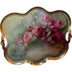 Limoges Breathtaking Large Tray or Wall Plaque Bearing Ruby Red/Pink Roses with Open Handles and Gold Encrusted Edge