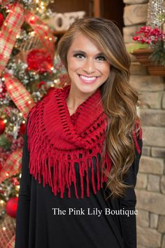 Red Infinity Fringe Scarf - The Pink Lily Boutique
