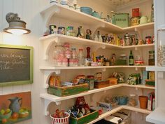 farmhouse kitchen by Alison Kandler Interior Design | vintage inspired pantry