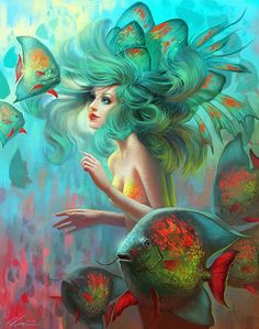 love all the bright colors in this piece. I like how the character has very realistic features to her. I am usually not a fan of this kind of digital art. It is very soft and realistic with fantasy touches. I like more of the cartoon look but this is just beautiful. The fish really comes to life with all their scales and her hair has so much texture.